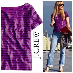 J Crew Sequin Stripe Tee in Purple Sailor Stripe L